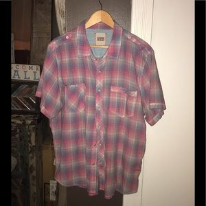 Vintage Red Pink & Blue Short Sleeve Button Down